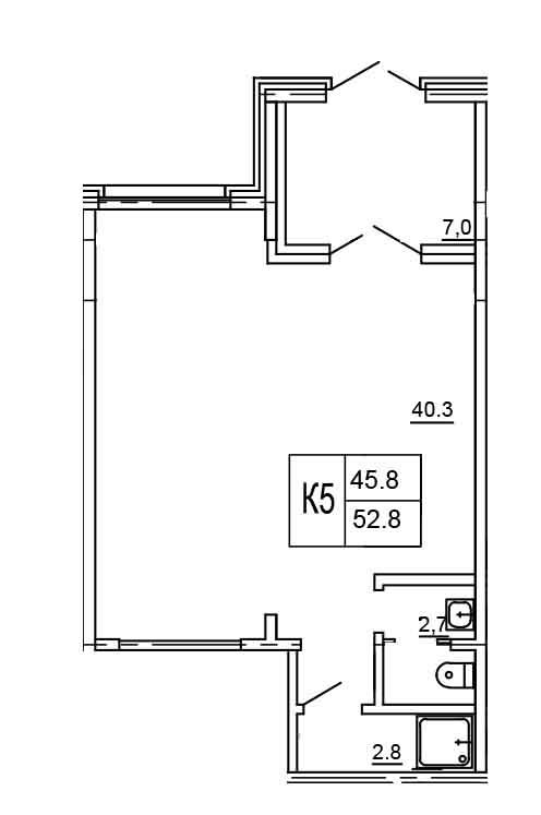 Планировка Коммерческое помещение площадью 52.8 кв.м в ЖК «Морошкино»