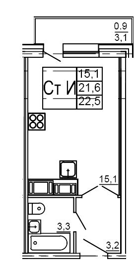 Планировка Студия площадью 22.5 кв.м в ЖК «Морошкино»