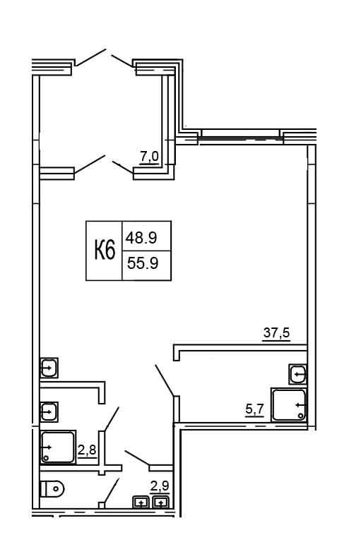 Планировка Коммерческое помещение площадью 55.9 кв.м в ЖК «Морошкино»