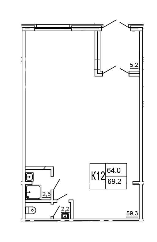 Планировка Коммерческое помещение площадью 69.2 кв.м в ЖК «Морошкино»