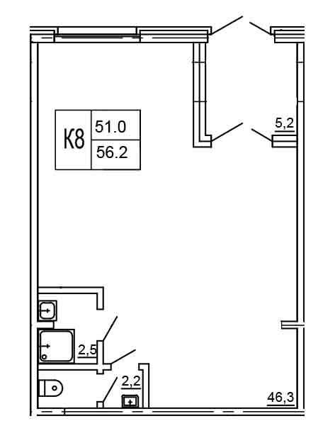 Планировка Коммерческое помещение площадью 56.2 кв.м в ЖК «Морошкино»