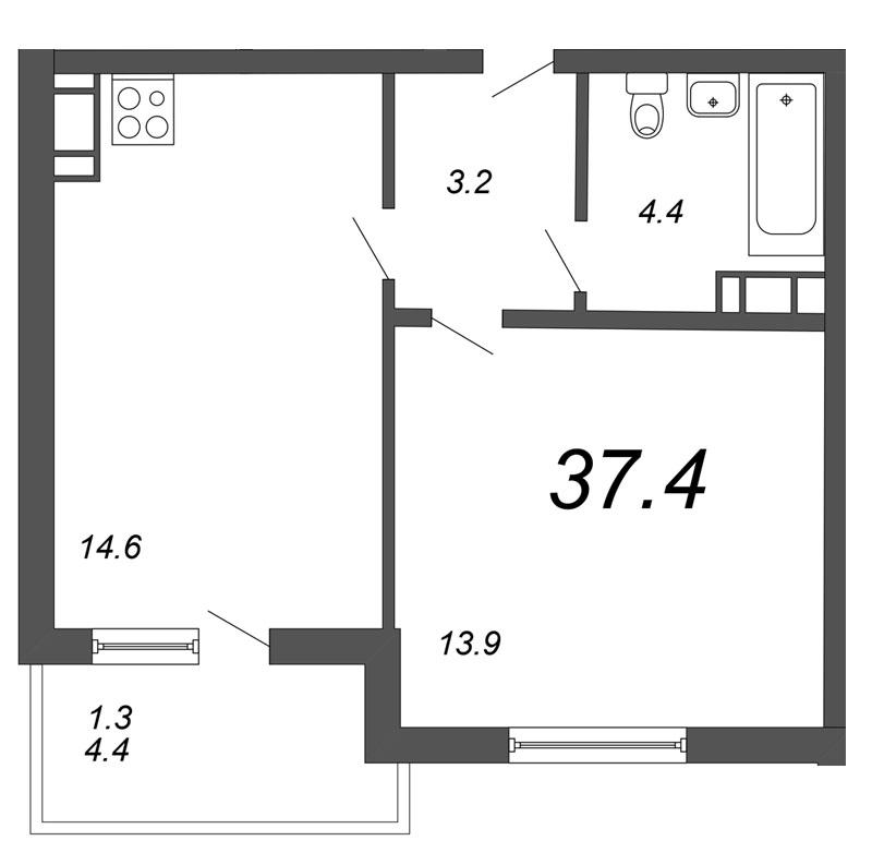 Планировка Однокомнатная квартира площадью 37.4 кв.м в ЖК «Морошкино»