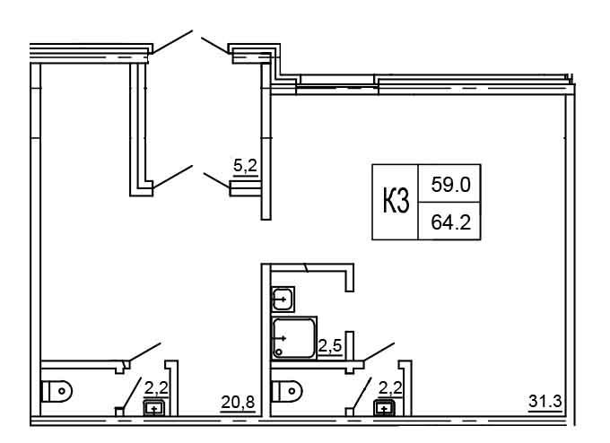 Планировка Коммерческое помещение площадью 64.2 кв.м в ЖК «Морошкино»